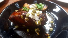 Spiced Pumpkin, Meredith's Goats Cheese, pomegranate maple reduction
