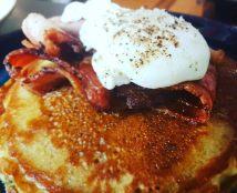 Stout, bacan, maple pancakes