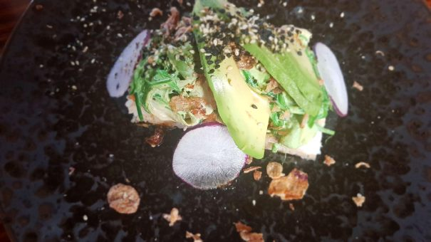 Tofu, sushi, seaweed, avocado, yuzu dressing